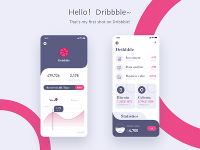 Hello,dribbble! mobile financial app first design first shot ux flat design icon ui