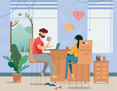Work From Home illustrator minimal flat animation vector design illustration
