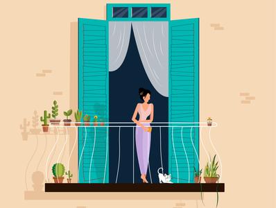 Girl in Balcony girly girl illustration girl with cat girl in balcony girl drinking tea girl drinking coffee girl vector balcony vector minimal illustrator illustration flat design animation