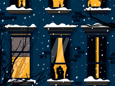 Winter warmth snow winter window illustrator minimal vector logo illustration flat design