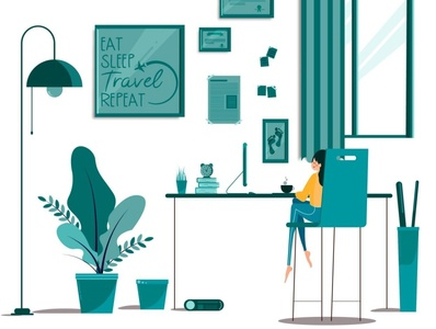 Minimal Life digitalart work home window girl vector minimal illustrator illustration flat design