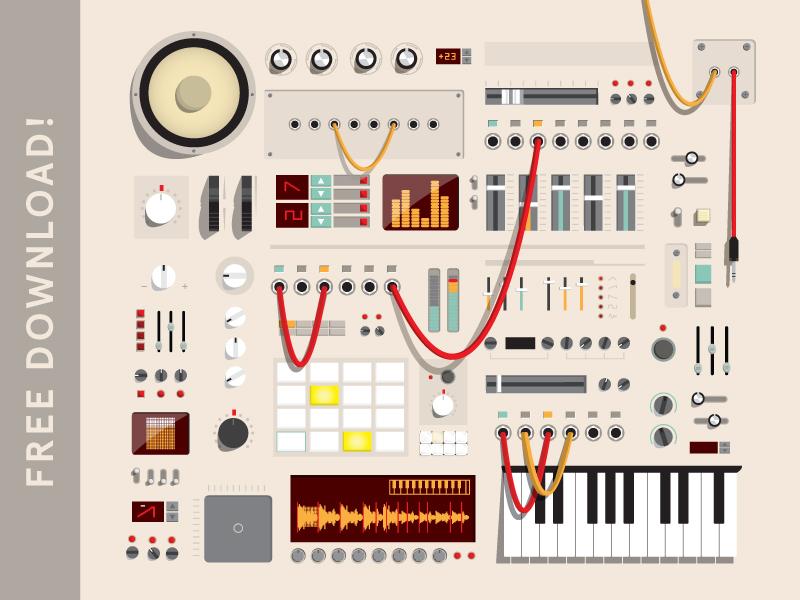 Audio Session Kit - FREE icon audio kit vector ai speaker knob wires music free