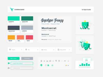 Hummingbird - Ui Style guide brand book visual guide component header robot palette ui kit ui style guide