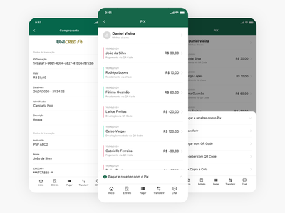 instant payments system (PIX) for Unicred Brasil payment app ios app design ios bank banking app minimal app interaction design user experience user interface ux ui
