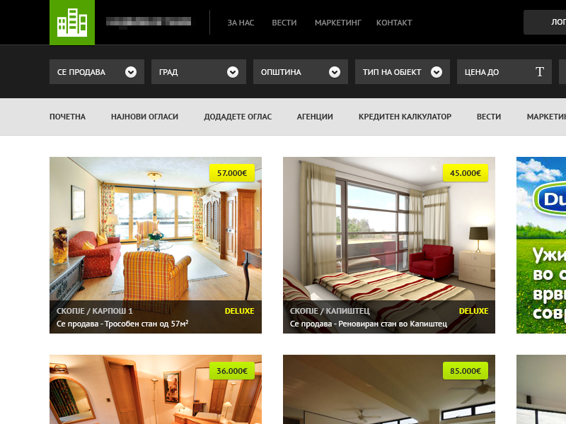 Real estate website - WIP website ui estate building house apartment dropdown dark