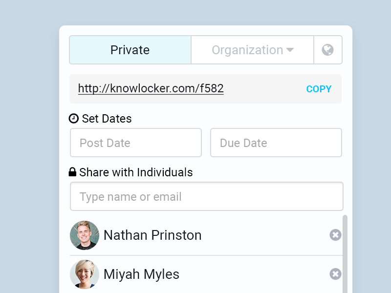 Privacy Selector privacy popup inline contacts share organization clipboard ux date list tooltip detail