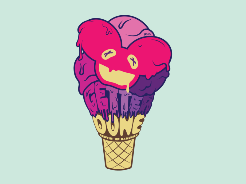 deatter design drawing colorful fun creamy melting electronic dance music electronic music dance music illustration 2d ice cream cone ice cream edm getter deadmau5