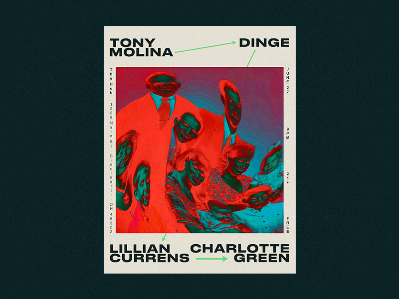 06/27 Flyer bands diy music flyer cincinnati the hub charlotte green lillian currens dinge tony molina
