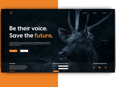 Against Trophy Hunting landing non-profit organization website non-profit organization trophy hunting ux website landingpage webdesign web ui design