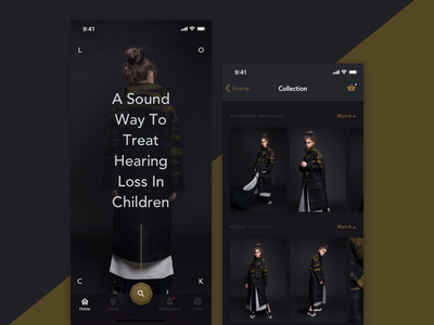 Fashion App gold mobile design ukraine odessa dark app uiux fashion