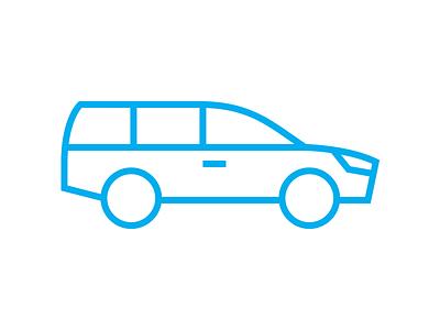 Station wagon icon car station wagon icon thin blue flat ios7