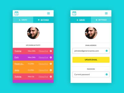 User settings fitness calendar app mobile website
