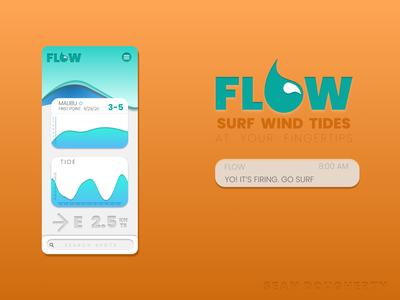 FLOW SURF APP app vector logo design web ui project mockup logo branding design