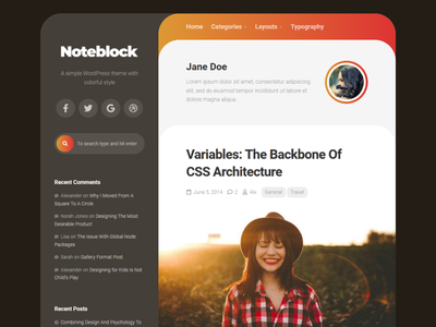 Noteblock WordPress Theme blog wordpress responsive free