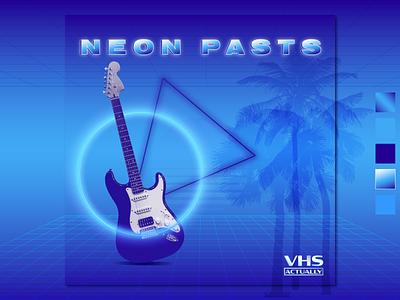 Neon Pasts albumcover mockup guitar oldschool visualgraphic visualarts aesthetics aestheticart aesthetic vaporwaveart synthwave vaporwave 80s retro weekday warmup vector typography design illustration