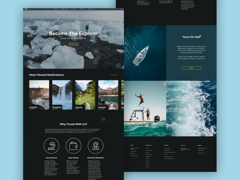 Become The Explorer with iCk™ tourism travel frontend uiux userexperience userinterface furniture daily ui landing page app web ui ux design design ux ui design ui