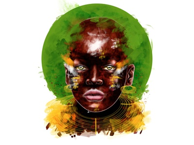WARRIOR OF THE JUNGLE african illustration afro editorial illustration warrior massai tribal tribe culture illustration colombia artdirection artwork art nature africa colombian illustration portrait