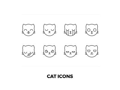 Cat icons sketchapp outline emojis icon cat