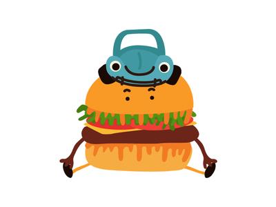 Hamburger friends hamburger character vector illustration