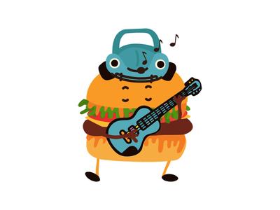 Hamburger 2 hamburger happy sticker food character illustration vector