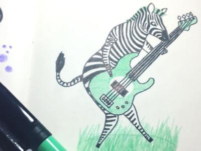Bassist Zebra drawing zebra green ink illustration