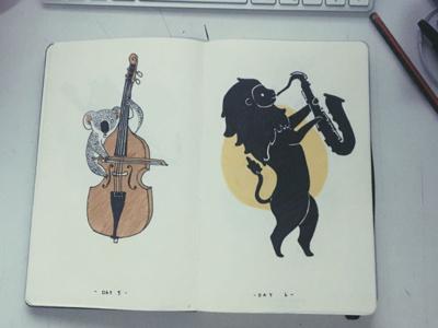 Ink drawings sketch drawing animals instruments koala lion ink illustration