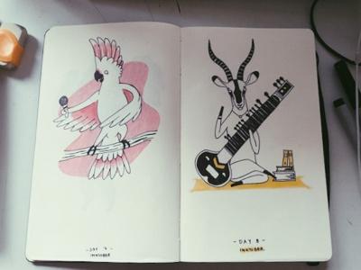 Ink drawings - 2 moleskine sketch drawing animals instruments impala cacatua ink illustration