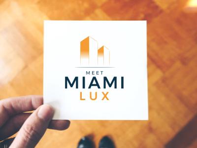 Meet Miami Lux building house icon yellow blue branding logo