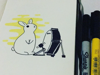 Bunny ink illustration