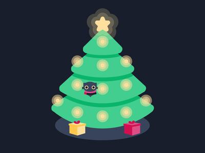 Christmas Tree cat tree vector illustration christmas