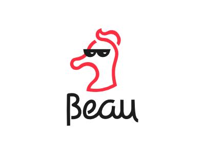 Beau - Beta cool beau seahorse vector icon brand logo