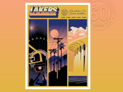 Lakers 60th Anniversary Poster nba poster custom lettering custom type typogaphy retro design retro vector vector illustration nba poster design poster art los angeles lakers los angeles illustration hoodzpah