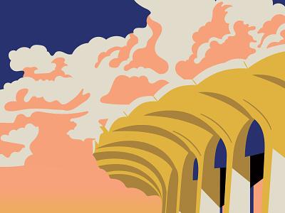 Lakers Dribbble clouds retro los angeles los angeles lakers lakers poster art nba poster nba vector illustration vector illustration hoodzpah