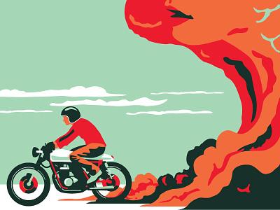 """The Road Beckons"" 16x20 Poster bonneville el mirage cloud moto guzzi poster hoodzpah moto motorcycle"