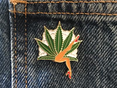 Lady Leaf Enamel Pin dancing can can accessories apparel enamel pin pin legs smoke leaf