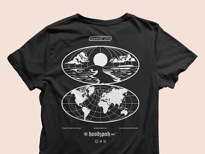 "Hoodzpah ""Shine On"" Shop Tee beach globe illustration typography seal logo lettering badge hoodzpah t-shirt design tee t-shirt"