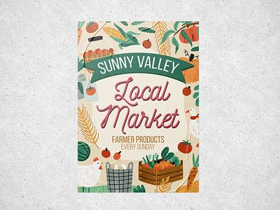 Sunny Valley local farmer's market poster branding poster vector minimal lettering illustrator design illustration
