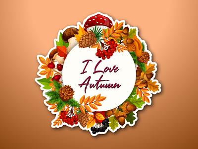 I love autumn badge vector design ux logo ui vector minimal lettering illustrator design illustration