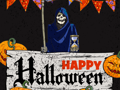 Happy Halloween vector minimal lettering illustrator design illustration