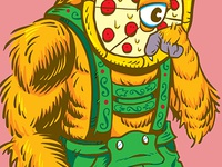 A Pizza Werewolf in Lederhosen