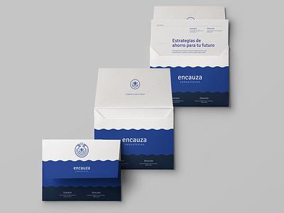 Encauza Consultores blue stationery river hands insurance identity branding