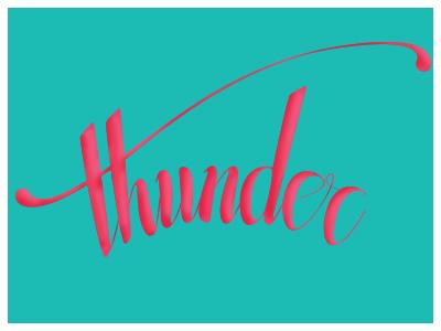 Thunder Lettering lettering thunder blue pink type typography script calligraphy brush pilot pen
