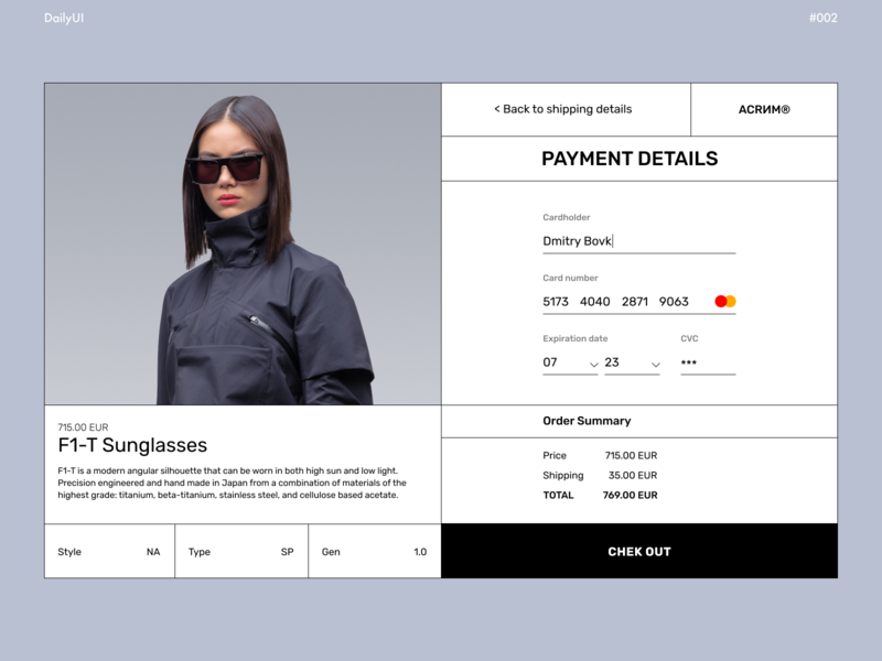 Credit Card Check Out dailyuichallenge daily ui checkout fashion white and black acronym payment page payment clean design clean ui visual design ux design uiux ui design typography design ui web ux minimal