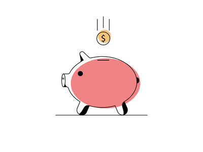 Money Box   Piggy Bank minimalism illustration art illustrator flat illustration flat pig money bag piggybank piggy bank piggy icon design vector illustration visual design minimal