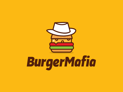 Burger Mafia invite welcome debut character logo creative fedora restaurant food mafia burger