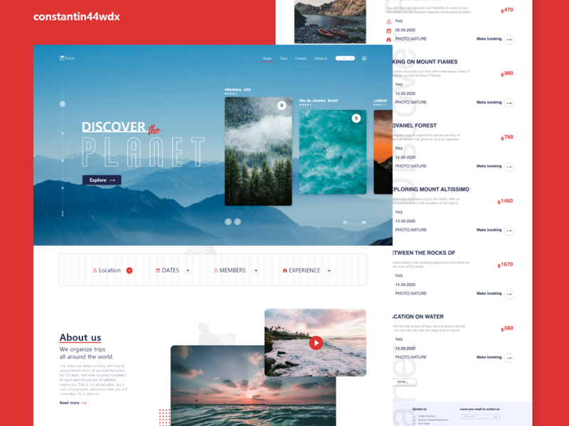 Travel Agency (UI/UX Design) xd red redesign agency travel design ux web ui marketing designer branding webdesign ui  ux adobe xd