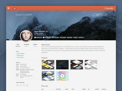 Coworks - Profile Page review jobs contact about work profile freelancer portfolio clean flat ux ui