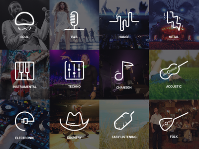 SoundsBox Genre Icons hat instruments rb feather pixel-perfect sound outline flat music icons icon genre