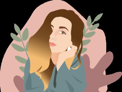 Girl portrait illustrator flowers illustration portrait girl illustration portrait girl