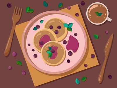 pancakes food illustration